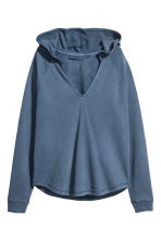 Hooded V-neck top - Dark blue - Ladies | H&M CN 2