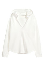 Hooded V-neck top - White - Ladies | H&M 2