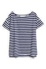 Short-sleeved top - Dark blue/Striped - Ladies | H&M GB 2