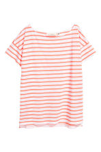 Short-sleeved top - Coral/Striped - Ladies | H&M CN 2