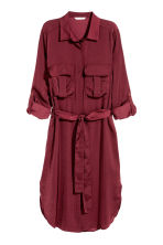 Satin shirt dress - Burgundy - Ladies | H&M CN 2