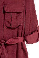 Satin shirt dress - Burgundy - Ladies | H&M CN 3