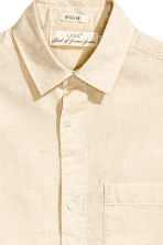 Linen-blend shirt - Light beige - Men | H&M CN 3