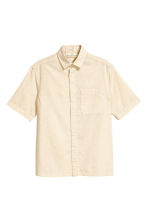Linen-blend shirt - Light beige - Men | H&M CN 2