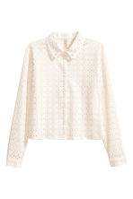 Embroidered cotton blouse - Natural white - Ladies | H&M CN 2