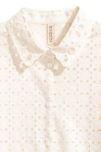 Embroidered cotton blouse - Natural white - Ladies | H&M CN 3