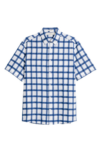Chemise Regular fit - Bleu/blanc/carreaux - HOMME | H&M BE 1