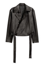 Double-breasted leather jacket - Black - Men | H&M 2