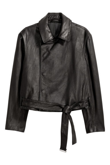 Double-breasted leather jacket - Black - Men | H&M