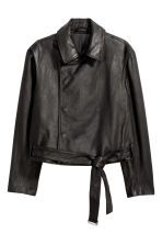 Double-breasted leather jacket - Black - Men | H&M 1