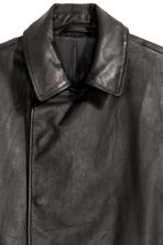 Double-breasted leather jacket - Black - Men | H&M CN 3