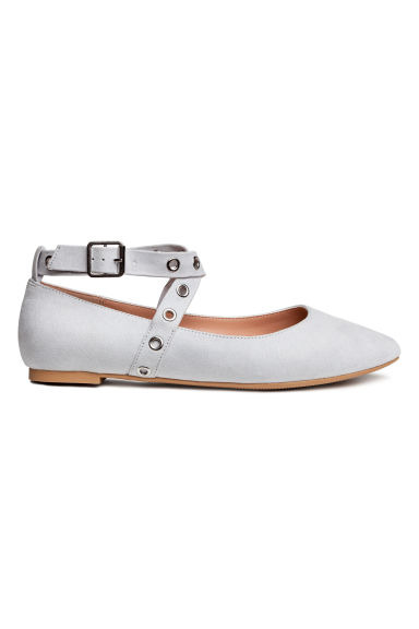 Ballet pumps with ankle straps - Grey - Ladies | H&M 1