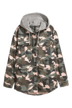 Hooded parka - Khaki green/Pattern - Ladies | H&M GB 2
