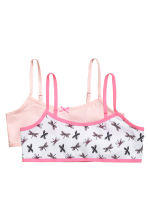 2-pack crop tops - White/Dragonfly - Kids | H&M 1