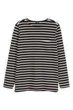 Top with a chest pocket - Black/White/Striped - Men | H&M 2