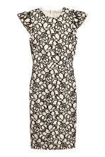Jacquard-weave dress - Light beige/Floral - Ladies | H&M 1
