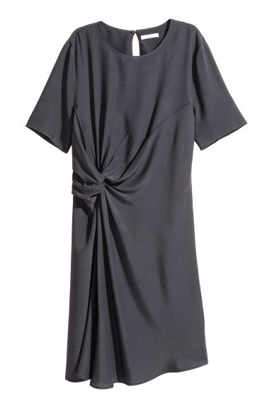 Crêpe dress - Dark grey - Ladies | H&M CN
