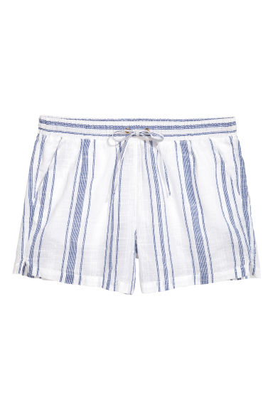 Linen-blend shorts - White/Blue striped - Ladies | H&M CN