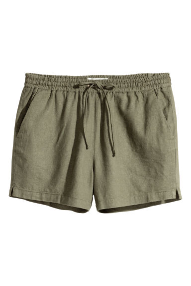 Shorts in misto lino - Verde kaki -  | H&M IT 1