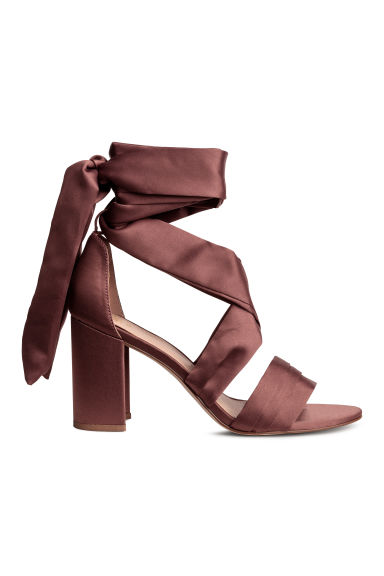 Ankle-tie sandals - Plum - Ladies | H&M CN 1