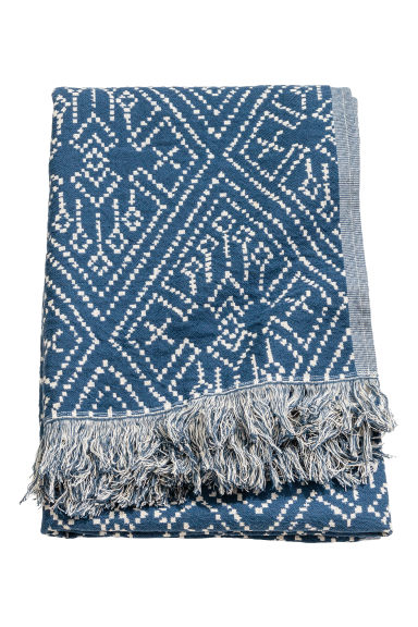Patterned blanket - Dark blue/Natural white - Home All | H&M IE