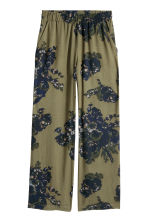 Wide trousers - Khaki green /Floral - Ladies | H&M CN 2