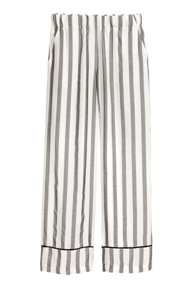 Wide trousers - Black/White/Striped - Ladies | H&M