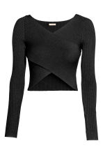 Cropped wrapover jumper - Black - Ladies | H&M CN 2