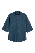 Collarless cotton shirt - Dark blue - Men | H&M 2