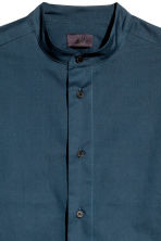 Collarless cotton shirt - Dark blue - Men | H&M 3