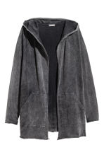 Long hooded cardigan - Black washed out - Men | H&M 2