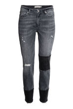 Patched Ankle Jeans - 深牛仔灰 - 女士 | H&M CN 2