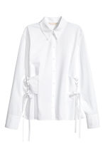 Cotton shirt with lacing - White - Ladies | H&M 2