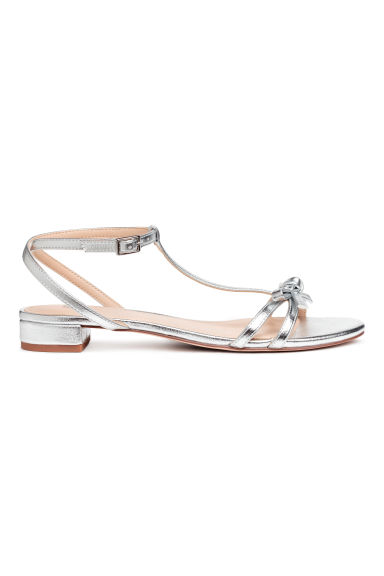 Sandals with a bow - Silver - Ladies | H&M 1