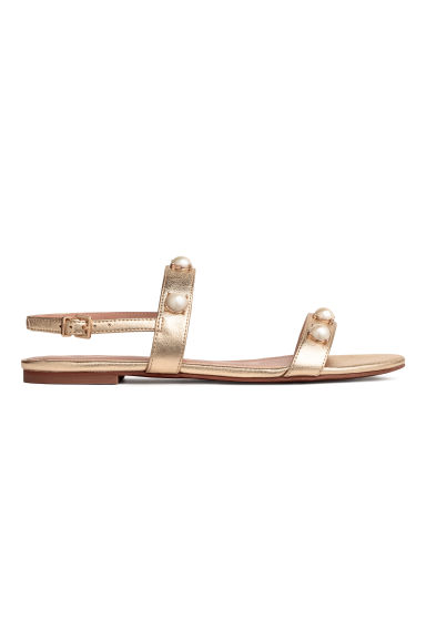 Pearly-detail sandals - Gold - Ladies | H&M CN 1