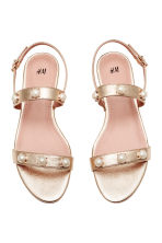 Pearly-detail sandals - Gold - Ladies | H&M CN 2