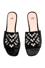 Velvet slides - Black - Ladies | H&M CN 2