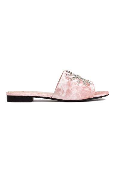 Velvet slides - Light pink - Ladies | H&M CN
