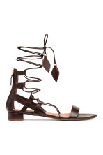 Leather sandals - Dark brown - Ladies | H&M CN 2