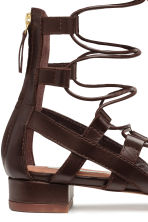 Leather sandals - Dark brown - Ladies | H&M CN 3