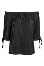 Off-the-shoulder satin blouse - Black - Ladies | H&M 2