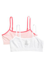 2-pack jersey crop tops - Light pink -  | H&M CN 1