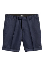 Linen-blend chino shorts - Dark blue - Men | H&M 2