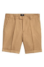 Linen-blend chino shorts - Dark beige - Men | H&M CN 2