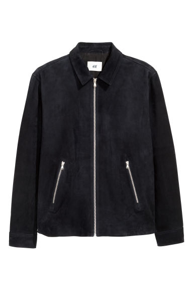 Suede shirt jacket - Dark blue -  | H&M