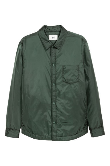 Padded nylon shirt jacket - Dark green - Men | H&M CN