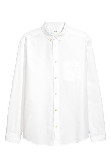 Pima cotton Oxford shirt - White - Men | H&M CN