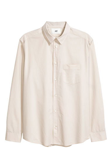 Pima cotton poplin shirt - Light beige - Men | H&M GB