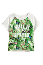 Printed top - Light grey marl - Kids | H&M CN 2