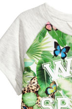 Printed top - Light grey marl - Kids | H&M CN 3
